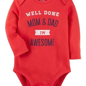 Carter's red I'm Awesome baby long sleeve bodysuit